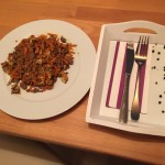 Karotten Spaghetti (Spiralnudeln) Hackfleisch Champignon Pfanne