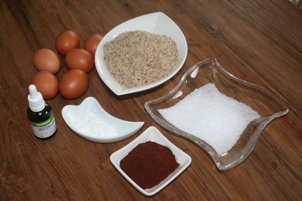 Zutaten Low Carb Muffins schwarz-weiß