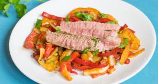 Rindersteak Streifen mit Paprika-Fenchel-Gemüse