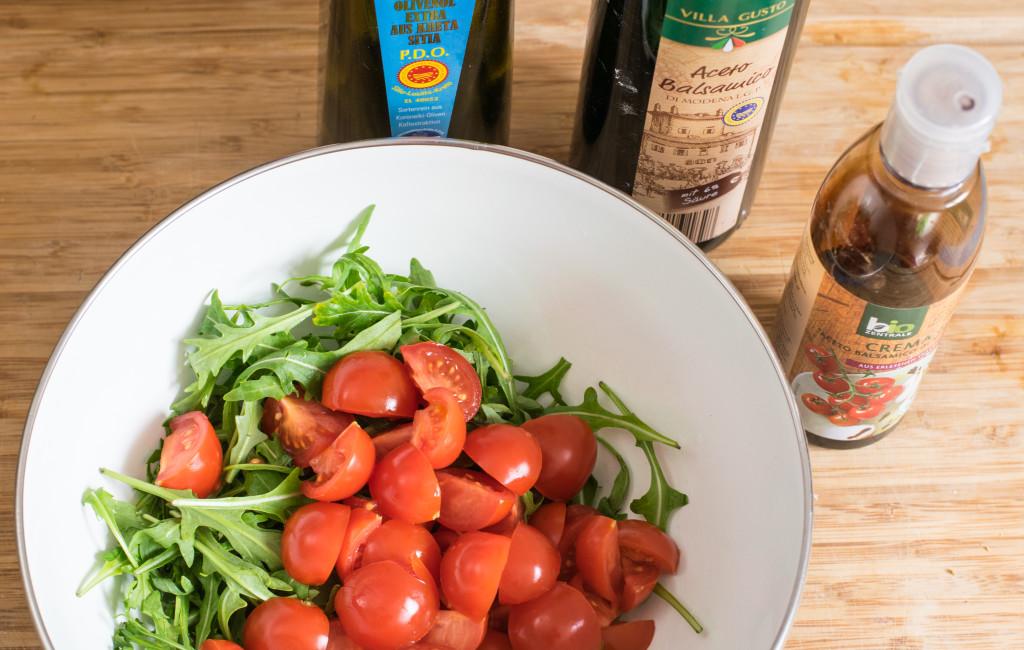 Rucola Salat Vorbereitung