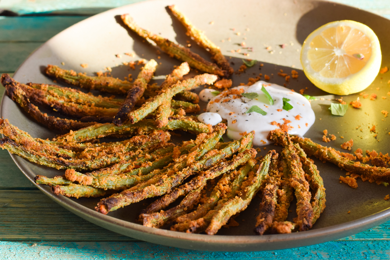 k stliche low carb green bean fries mit aioli dip. Black Bedroom Furniture Sets. Home Design Ideas