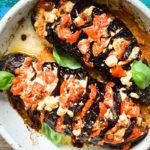 Low Carb gefüllte Fächeraubergine aus dem Ofen