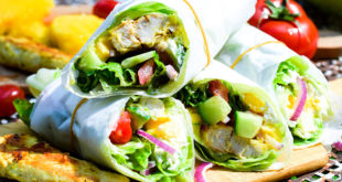 Low Carb Curry Chicken Mango Salat Wraps